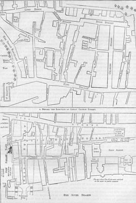 WESTMINSTER. Plan of a portion of Westminster between 1734 and 1748 c1880 map