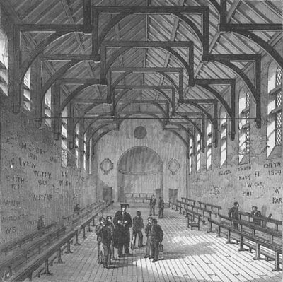 WESTMINSTER SCHOOL. The Schoolroom. London c1880 old antique print picture
