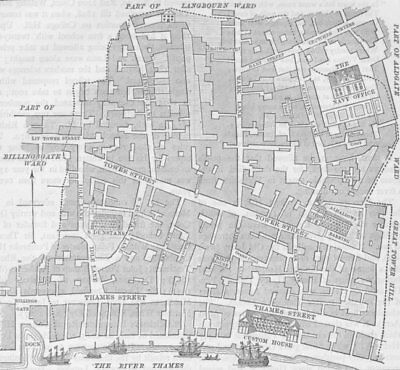 UPPER THAMES STREET. Tower Street Ward (from a map made for Stow's survey) c1880