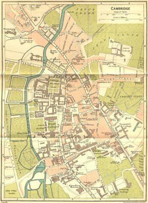 CAMBS. Cambridge Town Plan 1924 old vintage map chart