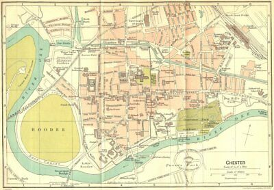 CHESHIRE. Chester Town Plan 1924 old vintage map chart