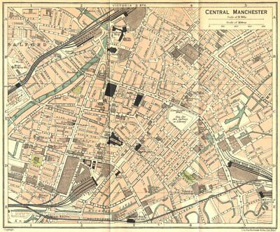 LANCS. Central Manchester Town Plan 1924 old vintage map chart