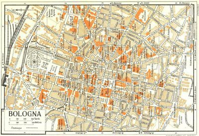 BOLOGNA town/city plan. Italy 1953 old vintage map chart