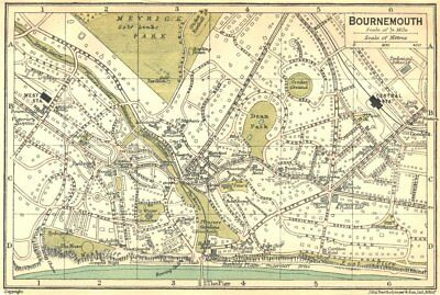 HANTS. Bournemouth Town Plan 1924 old vintage map chart