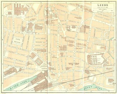 YORKS. Leeds Town Plan 1924 old vintage map chart