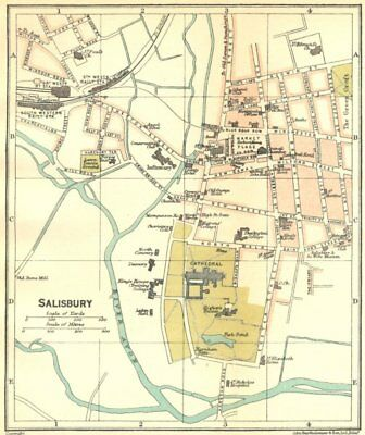 WILTS. Salisbury Town Plan 1924 old vintage map chart