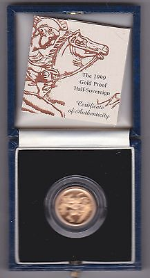 1999 Boxed Proof Gold Half Sovereign With Certificate