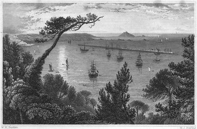 DEVON. The Breakwater, from Mount Edgcumbe, Plymouth 1829 old antique print