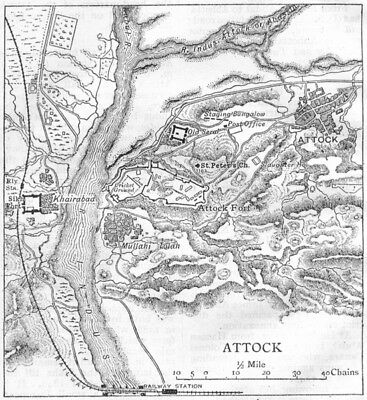 PAKISTAN. Attock town & Attock Fort sketch map. Khairabad. Sikh Fort 1924