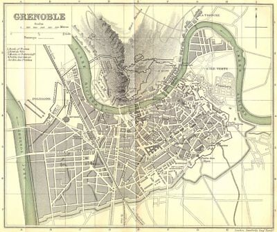 ISÈRE. Grenoble 1899 old antique vintage map plan chart