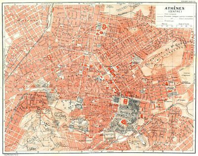 ATHENS vintage town city plan. Athènes. Greece 1956 old vintage map chart