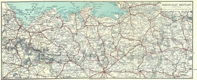 BRITTANY. Lamballe to Avranches. North-east 1923 old vintage map plan chart
