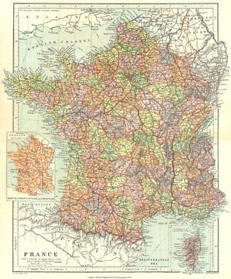 FRANCE. in departments, w/o Alsace Lorraine. Inset provinces. STANFORD 1906 map