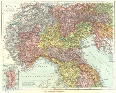 NORTHERN ITALY. Showing provinces and compartmenti. STANFORD 1906 old map