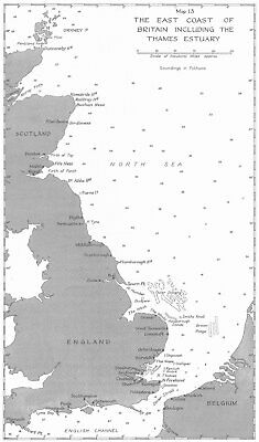 UK. Jan-May 1940. east Coast of Britain, including Thames Estuary 1954 old map