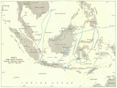 INDONESIA. South Pacific showing Japanese assaults Dec 1941-Feb 1942 1956 map