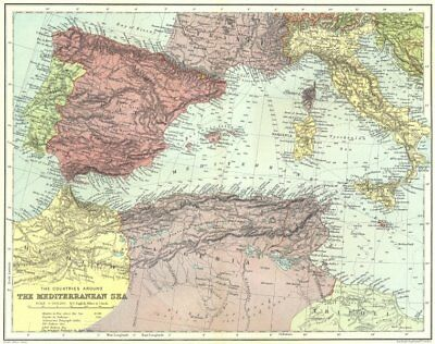 WESTERN MEDITERRANEAN. submarine cables.Iberia N Africa Italy.STANFORD 1906 map