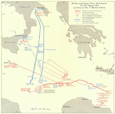 LIBYA. British & Italian Fleet tracks March 1942. 2nd battle of Sirte 1956 map