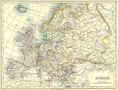 EUROPE. Europe 1897 old antique vintage map plan chart