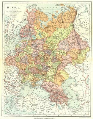 EUROPEAN RUSSIA. including the Caucasus. STANFORD 1906 old antique map chart