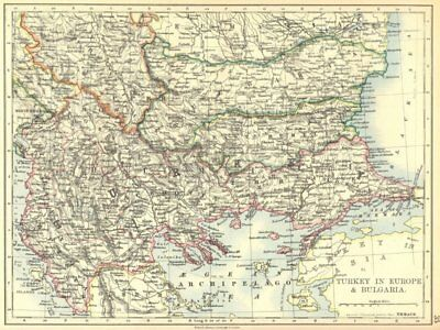 BALKANS. Turkey in Europe and Bulgaria 1897 old antique vintage map plan chart