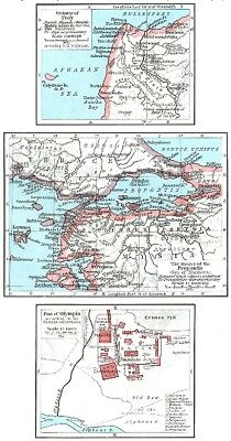 TURKEY. Troy; Propontis(Sea of Marmara); Olympia German excavations 1956 map