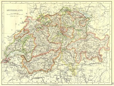 SWITZERLAND. Switzerland 1897 old antique vintage map plan chart