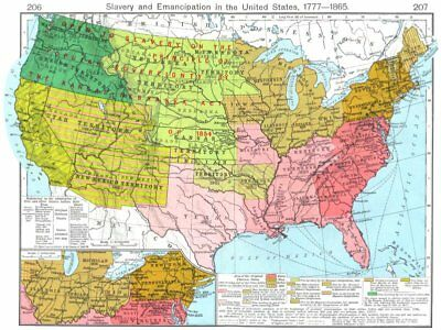USA. Slavery & Emancipation US 1777-1865; Region south of Great Lakes 1956 map