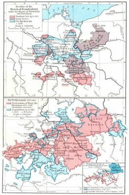 GERMANY. Decline of March Brandenburg 1320-1415 Wettin lands 1221-1485 1956 map