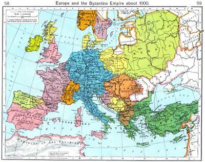 EUROPE. Europe and the Byzantine Empire about 1000 1956 old vintage map chart