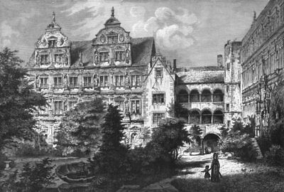 GERMANY. The Black Forest. Heidelberg Castle c1893 old antique print picture