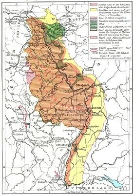 GERMANY. Treaty Adjustments, 1919-1926 The Rhineland 1956 old vintage map