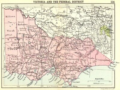AUSTRALIA. Victoria and the Federal District; Small map 1912 old antique