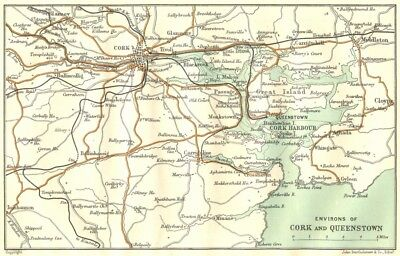 IRELAND. Environs of Cork and Cobh 1906 old antique vintage map plan chart