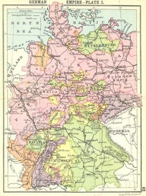 GERMANY. German Empire-Plate I; Small map 1912 old antique plan chart