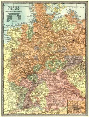 WESTERN GERMANY. Berlin environs inset. Prussia 1907 old antique map chart