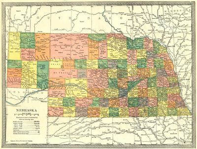 NEBRASKA state map. Counties 1907 old antique vintage plan chart