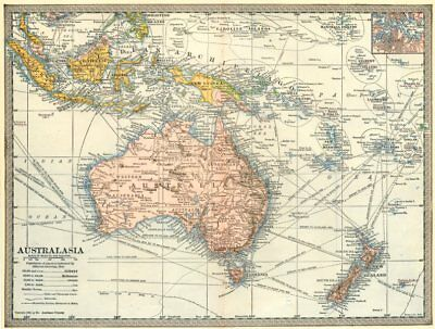 AUSTRALASIA. Australia New Zealand East Indies Steamship routes. Sydney 1907 map