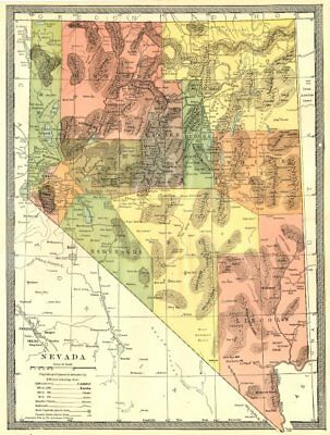 NEVADA state map. Counties 1907 old antique vintage plan chart