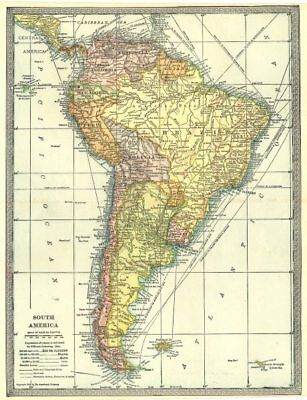SOUTH AMERICA Brazil Argentina Chile Bolivia etc 1907 old antique map chart