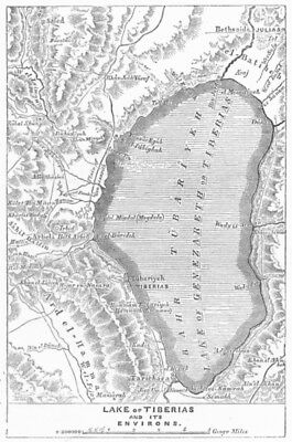 ISRAEL. Lake of Tiberias and Its Environs 1883 old antique map plan chart