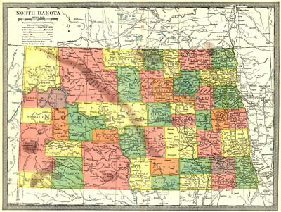 NORTH DAKOTA state map. Counties 1907 old antique vintage plan chart