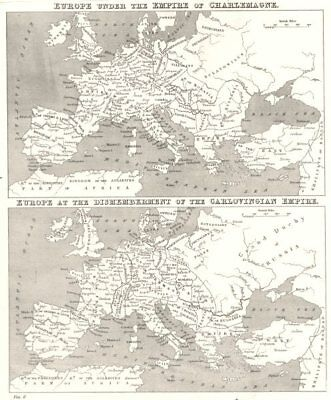 EUROPE. Under Empire of Charlemagne; at break up Carlovingian 1880 old map