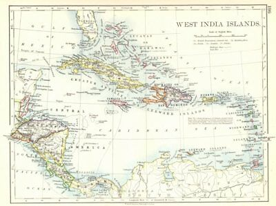CARIBBEAN. West Indies & Central America. West India Islands 1897 old map