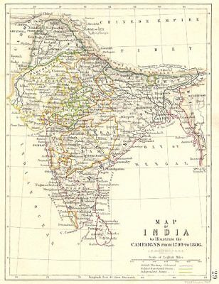 INDIA. Map to Illustrate the campaigns from 1799 to 1806. Napoleonic Wars 1848