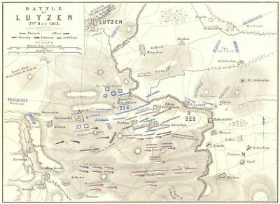 BATTLE OF LUTZEN. 2nd May 1813. Germany. Napoleonic Wars 1848 old antique map