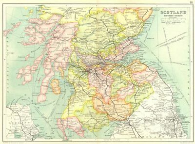 SOUTHERN SCOTLAND. Dumfries/Galloway Borders Strathclyde Tayside Fife 1909 map