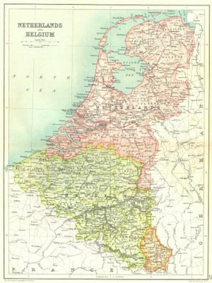 BENELUX. Netherlands. Belgium. Grand Duchy of Luxembourg 1909 old antique map