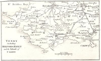 WALES. Tenby including Milford Haven and the Island of Caldy 1808 old map