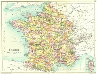 FRANCE. Showing departements. Railways. Cassells. 1909 old antique map chart